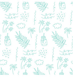seamless pattern with sea vacation elements vector image