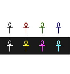 Set cross ankh icon isolated on black and white vector