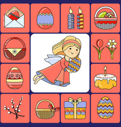 Set easter icons and angel vector