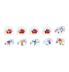 set male and female characters on christmas vector image