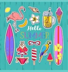Set of fashion summer stickers vector