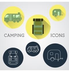 Set of outdoor adventure icons badges vector
