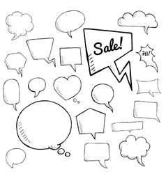 Set of speech bubbles group of doodle vector