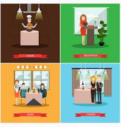 set restaurant people posters in flat vector image