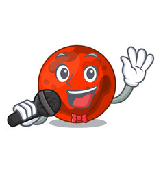 Singing mars planet mascot cartoon vector