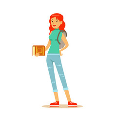 smiling red haired student with a backpack vector image