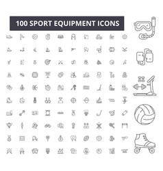 sport equipment editable line icons 100 vector image