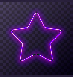 star-shaped bright purple neon frame template vector image