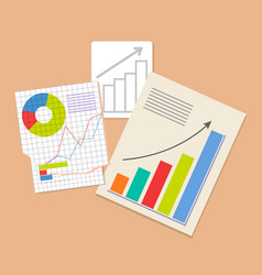 Three analytics documents colorful vector