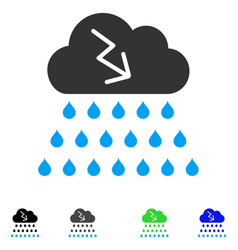 Thunderstorm rain cloud flat icon vector