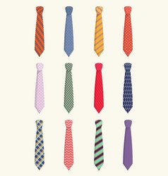 Ties for all occasions set trendy orange striped vector