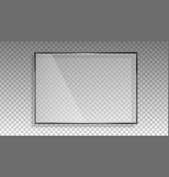 Transparent glass frame gloss shine panel vector