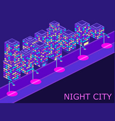urban landscape with isometric buildings lanterns vector image