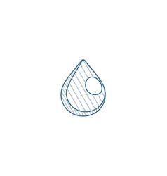 Water drop isometric icon 3d line art technical vector