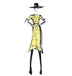 Woman in the yellow dress and hat fashion models vector