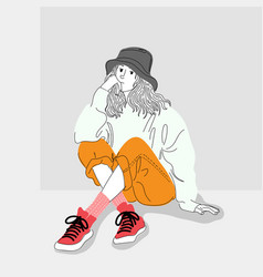 women dressed in street fashion were sitting vector image