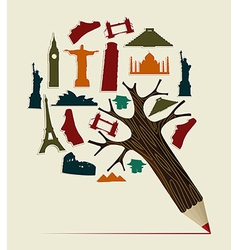 world travel pencil vector image