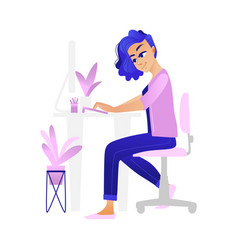 young girl reading online information or chatting vector image