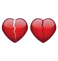 broken hearts vector image vector image