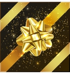 Gold yellow Christmas Bow with confetti on gift vector image vector image