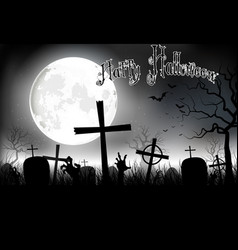 halloween background night with in graveyard vector image