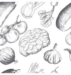 Hand drawn seamless set of organic vegetables vector image