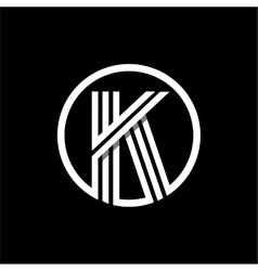 K capital letter of three white stripes enclosed vector