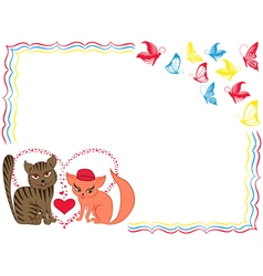 Romantic cat and kitty on Valentine greeting card vector image