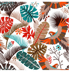 seamless pattern with palm leaves and vector image