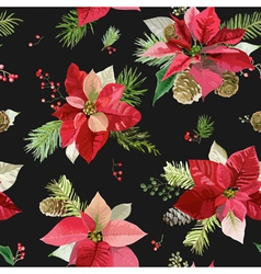 Vintage Poinsettia Flowers Background Seamless vector image