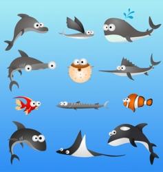 cartoon fish characters vector image vector image