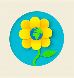 Earth day paper cut out flower world concept vector