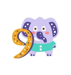 Elephant Standing Next To Number Nine Stylized vector image