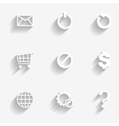 Icons set white vector image