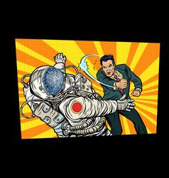 man vs astronaut fight vector image vector image