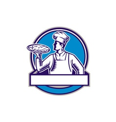 Pizza chef serving pizza circle woodcut vector