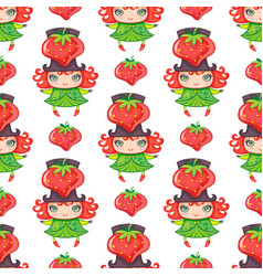 seamless colorful pattern with cute little girl vector image vector image
