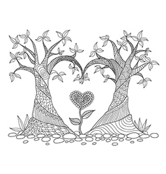 two trees heart shape colorling vector image vector image