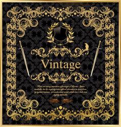 vintage gold black frame decor label vector image vector image