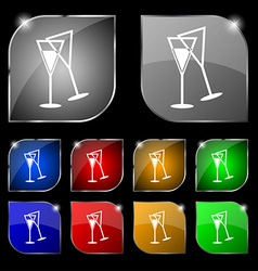 champagne glass icon sign Set of ten colorful vector image