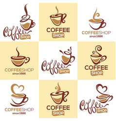 coffee shop collection of logo template with vector image vector image