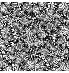 doodle black and white seamless pattern vector image