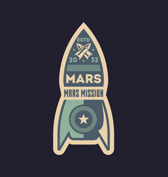 mars exploration vintage isolated label vector image vector image