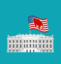 republicans win white house flag red elephant vector image