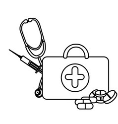silhouette suitcase health with stethoscope vector image