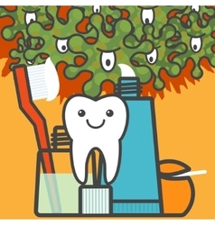 Tooth and dental care things vector image vector image