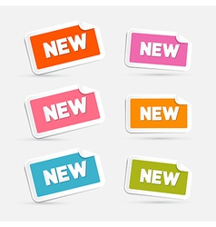 Colorful Stickers with New Title Isolated on Grey vector image vector image