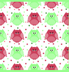 cute green and carmine owls with dots in the vector image vector image