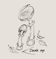 hand drawing a set of mushrooms vector image vector image