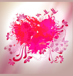 loving watercolor splash heart with sketch vector image
